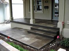 Stamped concrete - thinking about doing this look for my front patio and around the pool in back. (Step Back Patio) Concrete Patios, Concrete Front Porch, Front Walkway, Concrete Steps, Diy Concrete, Concrete Floor, Stamped Concrete Walkway, Concrete Overlay, Decorative Concrete