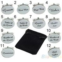 Wish | one pair SILVER OVAL Mens Wedding Cufflinks Cuff Link Groom Best Man Usher Page Gift (you choose type)