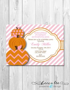 Pumpkin Birthday Invitation Fall Birthday by InvitingDesignStudio Halloween 1st Birthdays, Pumpkin Birthday Parties, Halloween Birthday, First Birthday Parties, First Birthdays, Birthday Ideas, Birthday Crafts, Halloween Halloween, Pink Invitations