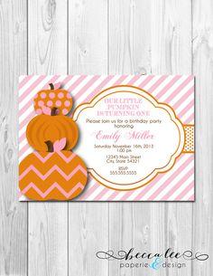 Our Little Pumpkin First Birthday Invite Mason Jar Rustic Fall
