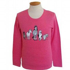 The Herd Long Sleeve Child's T-shirt. This dark pink, cotton, child's long sleeve T-shirt is printed with the images of various cheeky horses. Horse Stalls, Graphic Sweatshirt, T Shirt, Product Description, Sweatshirts, Children, Long Sleeve, Prints, Sweaters