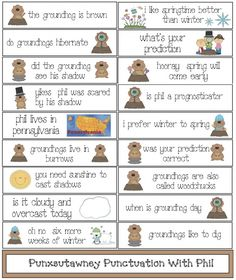 """Groundhog Day activities: FREE Punxsutawney Punctuation With Phil Groundhog Day Activities. 18 large groundhog-themed """"fix the sentence"""" cards. (capitalization & end punctuation) Includes mini cards for students to """"repair"""". Groundhog Day Activities, Teaching Activities, Holiday Activities, Teaching Ideas, School Holidays, School Fun, Holidays Events, School Ideas, Winter Holidays"""