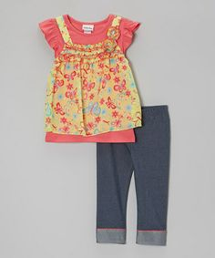 Look at this #zulilyfind! Coral & Yellow Layered Tunic & Jeggings - Infant, Toddler & Girls #zulilyfinds