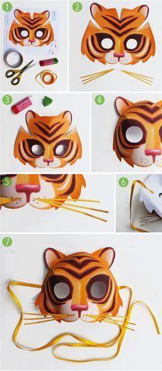 Animal Mask Templates, Printable Animal Masks, Crafts For Kids To Make, Projects For Kids, Fun Crafts, Diy Paper, Paper Crafts, Diy Pour Enfants, Tiger Mask