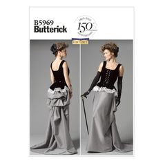 Butterick Misses' Corset and Skirt Pattern B5969 Size A50 from @fabricdotcom  Pattern is for size A5. <br><a href=https://s3.amazonaws.com/fabric-pdf/Butternick+Pattern+Back/B5969back.pdf>Click here for pattern back.</a> <br>