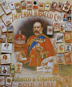 """""""The Imperial Tobacco Co.'s tobacco & cigarettes sold here"""" via Diary of a Vintage Girl (http://www.diaryofavintagegirl.com/2015/02/the-kings-brands.html)"""