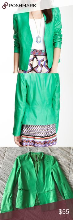 """W118 Walter Baker genuine sheep leather jacket Gorgeous fitted sheep leather jacket in a beautiful apple green color, perfect for spring/summer sunny days or a fun gateway. In great condition, open notched front, front welt pockets, fully lined, approx. 25"""" length (size S). More info below…"""