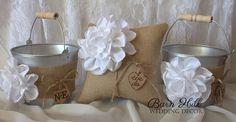Ring Bearer Pillow Flower Girl Basket Rustic Wedding Ivory