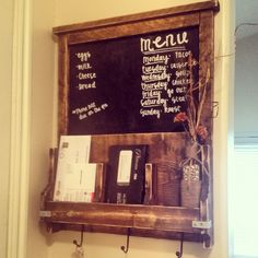 Mail Organizer - Wall Organizer - Command Center - Chalkboard - Memo Board - Command Station