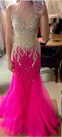 Scoop Sleeveless Prom Dresses,Zipper Sweep Train Evening Dresses,Chiffon and Crystal Dress