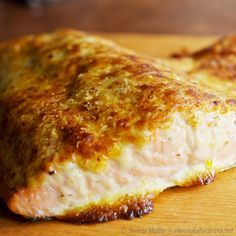 Oven Roasted Salmon with Parmesan-Mayo Crust. Crispy on the outside and moist on the inside.