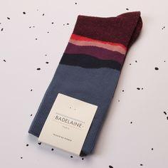 FW14 Azurite socks - Burgundy #badelaine #paris #socks #chaussettes #mineral #landscape #layers #blue #burgundy #pink #severalshadesofsocks #madeinfrance