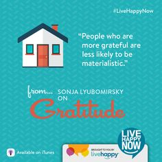 Live Happy Now Podcast with Sonja Lyubomirsky on Gratitude! Tune in!