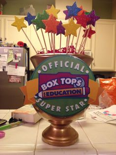 Box Tops Trophy awarded to winning class who turns in the most box tops each month.