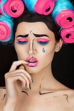 Pop art makeup: crying girl in soda can hair rollers Pop Art Makeup, Blue Makeup, Girls Makeup, Diy Makeup, Beauty Makeup, Dress Makeup, Hair Beauty, Art Pop, Pop Art Girl