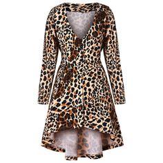 2236bd1766b Plus Size Leopard Print High Low Long Tunic T-shirt