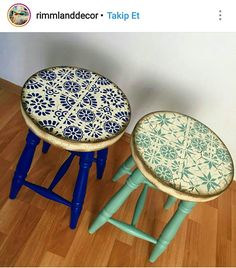 Decoupage Furniture, Refurbished Furniture, Repurposed Furniture, Whimsical Painted Furniture, Wooden Tables, Creative Inspiration, Stool, Bedroom Decor, Diy Projects