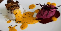 Jerusalem Artichoke Flan - Carrot Coriander Foam - Red Beet Cumin Ice Cream - Porcini Crusted Jerusalem Artichoke Chips - Chef Boris Lauser