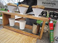 wooden coffee bar...this could be epic, pour over coffee for all at once!