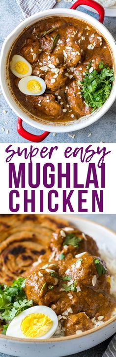 Mughlai Chicken is a restaurant style, north Indian recipe with a creamy, dark brown onion gravy that will have you licking the plate! Serve it with parathas, biryani or jeera rice, and feel free to substitute paneer if you are vegetarian. My Food Story North Indian Recipes, Indian Food Recipes, Healthy Recipes, Ethnic Recipes, Indian Foods, Indian Snacks, Indian Dishes, Veg Recipes, Copycat Recipes