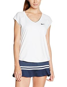 Women s Nike Court Tennis Top Medium  CLASSIC STYLE AND COMFORT.Nike Pure  Women s Tennis Top offers a feminine fit with cap sleeves and dolphin hems. 6bedf2b2d
