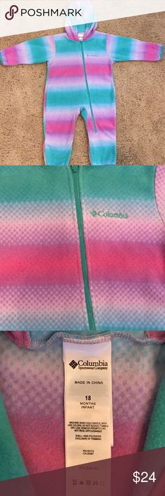 Columbia 18mo Pink Purple Teal Fleece Bunting Very Good Used Condition  Normal Fleece Pilling , Only Worn a handful of times Soo Cute  Smoke Free Home Columbia Jackets & Coats