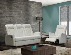 Ajoutez du style à votre intérieur grâce à ce canapé Langdon, d'Elran. Il est habillé d'un recouvrement de cuir, muni d'un appuie-tête intégré, d'un coussin de dossier matelassé et d'accoudoirs allongés et effilés. Ce canapé est le meuble parfait qui procure un summum de confort pour toute salle de séjour. Sofas, Couch, Parfait, Furniture, Home Decor, Style, Forearm Stand, Couches, Sofa