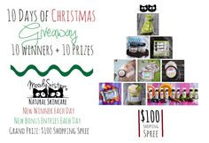 Moody Sisters Natural Skincare 10 Days of Christmas Giveaway. Win prizes daily, plus the grand prize $100 shopping spree to the Moody Sisters natural skincare online store! Bonus, fun, easy entries every day!  www.moodysistersskincare.com/blog #handmade #giveaways #skincare #natural #shopping #christmas #holiday #women #fun #bodycare #lotion #scrubs #stockingstuffers #gifts #madeintheusa #mombiz #justformoms