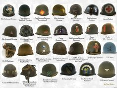"Pictured above is a wide array of American World War 2 Era ""Pot"" Helmets all sporting different decals, netting, and units. Military Ranks, Military Insignia, Military Gear, Military Photos, Military History, Military Uniforms, Army Ranks, Military Equipment, Military Drawings"