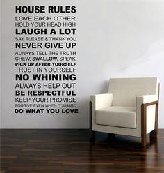 wall decal wall decal  HOUSE RULES   vinyl wall by ModernWallDecal, $48.00