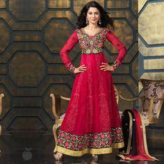 Ruby red anarkali at just 3645/-  #rubyred #anarkalis #jenifferwinget #floral #embroidery #fashion #indianwear #tvactress #jeniffer #womensfashion #womensclothing #festive #diwali