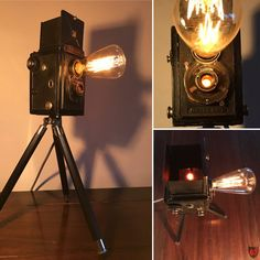 Upcycling vintage camera lamp. This Voigtländer Brillant box camera has been produced back in 1932 in Braunschweig/Germany. My upcycling was 85 years later. I have removed the inner workings and replaced with a lamp socket, two glow lamps and some cabling.