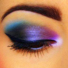 purple and blue eye shadow mix