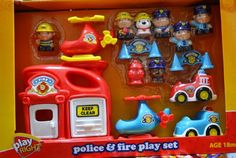 Play Right Police and Fireman Heavy Duty Playset with Helicopters, Fire Station and Heli-port Adventure Games, Helicopters, Police, Image Link, Fire, Play, Amazon, Toys, Activity Toys