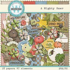 A Mighty  Roar Digital Scrapbooking Kit by KWintersDesigns on Etsy, $5.50