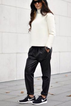 Black Leather Pants | Cream Turtleneck Sweater