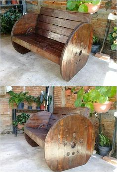 This beautifully designed wood pallet bench is enclosed with the simple and much a different form of the designing concept work being part of it. It has been enclosed with the round shaped supportive wheels (legs) that looks so unique. Pallet Lounge, Diy Pallet Sofa, Diy Pallet Projects, Wood Projects, Pallet Bench, Pallet Walls, Pallet Ideas, Recycled Pallets, Wooden Pallets