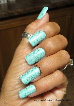 Lovely #blue #manicure on Diane Graham's custom-fit #nails! #nailpolish #nails
