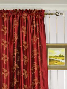 These contemporary window curtains feature a rich yet lovey look. Elegant cranes adorn these panels, adding life and statement to your home. Silk Curtains, Window Curtains, Contemporary Windows, Rod Pocket, Halo, Home Decor, Silk Drapes, Decoration Home, Room Decor