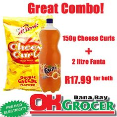 Get your favourite Cheese Curls with a Fanta at only for both. While stocks last Hot Sauce Bottles, Curls, Cheese, Food, Essen, Meals, Yemek, Eten