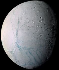 Tiger Stripes of Enceladus Pictured here is a high resolution Cassini image of Enceladus from a close flyby. Do underground oceans vent through the tiger stripes (in false-color blue) on Saturn's moon Enceladus? The long features dubbed tiger stripes are known to spew ice from the moon's icy interior into space, creating a cloud of fine ice particles over the moon's south pole and creating Saturn's mysterious E-ring.