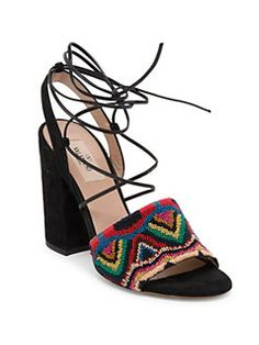Valentino - Native Embroidered Suede Lace-Up Ankle-Wrap Sandals