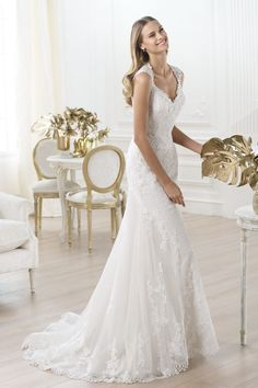 Charming 2014 New Arrival Wedding Dresses V Neck Straps Mermaid/Trumpet Court Train With Lace 229.99