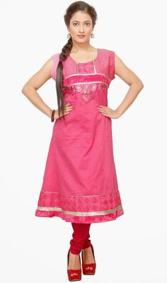 Include your self with the glamour of the season with this rose pink shade cotton tunic. The ethnic lace, resham and velvet patch work within kurti adds a sign of magnificence statement for your look. #LatestClassicalKurtis
