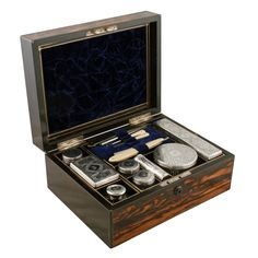 Victorian Gentleman's Dressing Box at Graham Smith Antiques, in Newcastle upon Tyne, . Vanity Cases, Vanity Box, Glass Jars Online, Victorian Gentleman, Shaving Set, Antique Vanity, Dresser Sets, Antique Boxes, Silver Tops