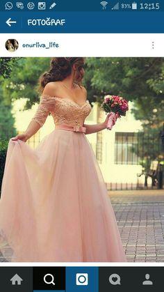 Pudra nişan elbisesi