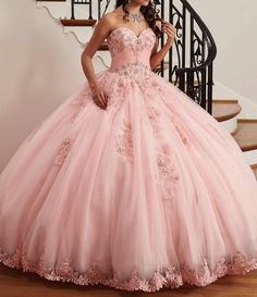 - Strapless sweetheart tulle quinceanera ball gown features pleating details, beaded lace applique, lace-up back, matching bolero, and lace hem skirt with sweep train. Sweet 16 Dresses, 15 Dresses, Wedding Dresses, Dressy Dresses, Wedding Veil, Tulle Ball Gown, Ball Gowns, Pretty Quinceanera Dresses, Quinceanera Party
