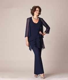 Dark Navy Blue Chiffon Three-Pieces Mother of the Bride Pant Suits Jackets for Mothers Bride Trousers 3/4 Long Sleeve Formal Groom 2017