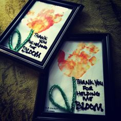 Thank you gifts for my daughters therapists. Handprint flower. Enamel paint pen on glass of frame.