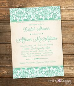 Elegant Bridal Shower Invitation, Wedding Shower Invitation, Damask, Mint, Mint Green, Rustic, Formal, Floral (PRINTABLE FILE) by InvitingDesignStudio on Etsy